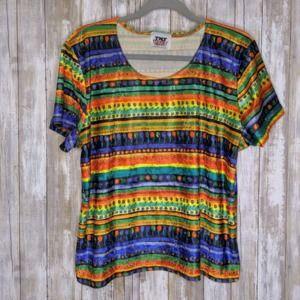 Vintage Velvet Stripe Floral Hippie BOHO 2X Vtg